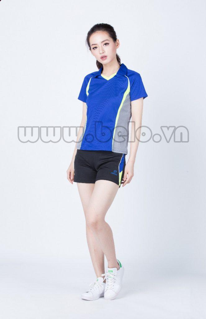 Áo bóng chuyền nữ xanh dương pha ghi mã PN08